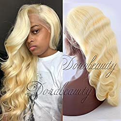 """Dorabeauty Platinum Blonde Virgin Human Hair Wig for Black Woman Glueless Full Lace Wig #613 Body Wave 150% Density 16"""" inches"""