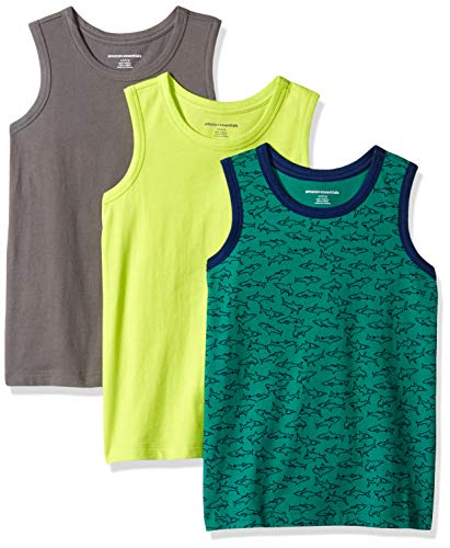 Amazon Essentials   Boys' 3-Pack Tank Top, Shark/Lime/Grey XL (12)