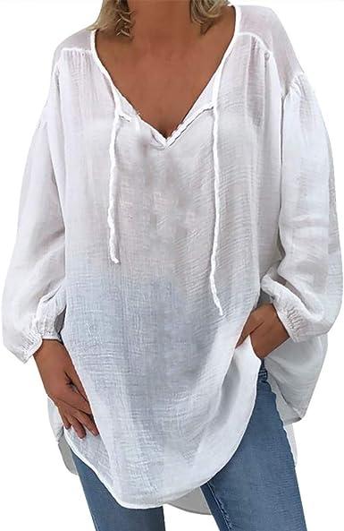 Blusas Mujer Tallas Grandes Blusas Mangas Largas Cuello V Casual Camisetas Básica Sueltas Color Fluorescente Trabajo Oficina Camisa Tops Shirt Originales para Otoño Invierno RISTHY: Amazon.es: Ropa y accesorios
