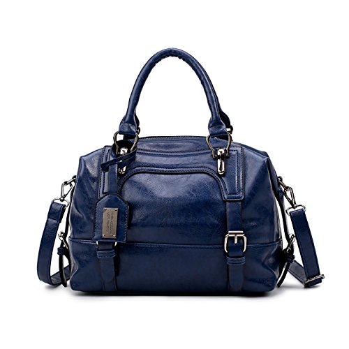 Tisdaini Bolsos de mujer en cuero de la PU bolsos grandes con correa Bolso multifuncional Bolsos de hombro para damas azul Azul