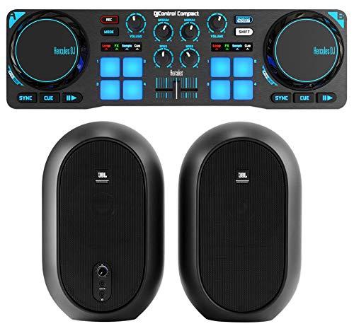 Hercules DJControl Compact USB 2-Deck DJ Controller Mixer+2 JBL Monitor Speakers ()