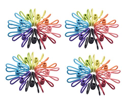Kclongvs Pack of 36 Utility Clips, Multi-Purpose Clothespins, Steel Wire Clips, Durable Metal Pins for Laundry, Kitchen, Snack Seal, Photo Display, Paper Clips, Office Pin (Mixed Colors 36pcs)