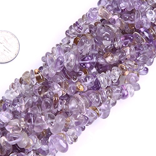 6-8mm Natural Ametrine Chips Beads For Jewelry Making Freeform Light Purple 34""