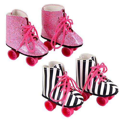 Ebuddy 2 Pairs Rockin' Roller Skates For 18 inch Dolls Including Glitter Roller Skates and Zebra Roller Skates (Roller Girl Outfit)