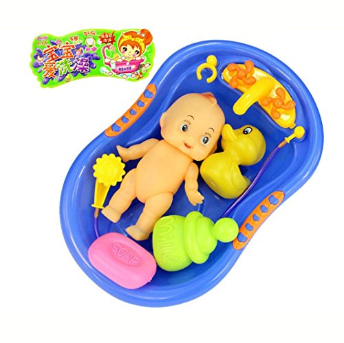 Costume Role Playset (E-SCENERY Baby Doll With Shower Accessories Set, Kids Pretend Role Play Toy Swimming Tub Bathtub Playset Play Toy)