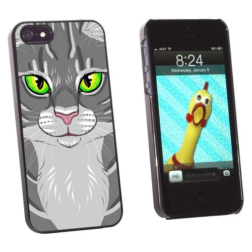 Graphics and More Gray Tabby Cat Face - Pet Kitty Snap-On Hard Protective Case for Apple iPhone 5/5s - Non-Retail Packaging - Black