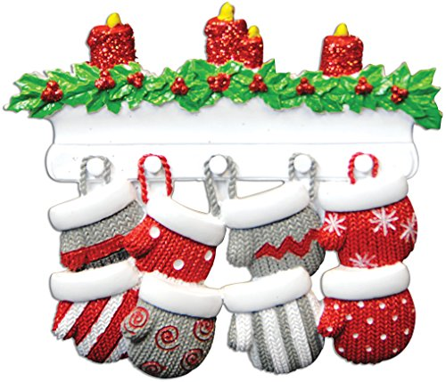 Personalized Ornament Name (Personalized Mitten Family of 8 Christmas Ornament - Knit Winter Gloves Stockings on Mantle with Candles - Parent Children Friend Glitter Gift Tradition First Winter - Free Customization (Eight))