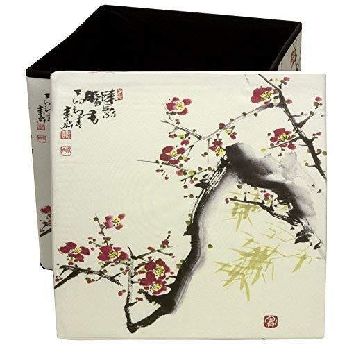 ORIENTAL Furniture Cherry Blossom Storage Ottoman