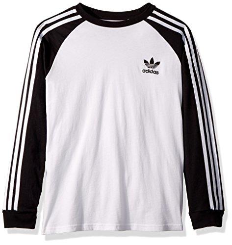 adidas Originals Boys Big Long Sleeve California Tee, Black/White, M