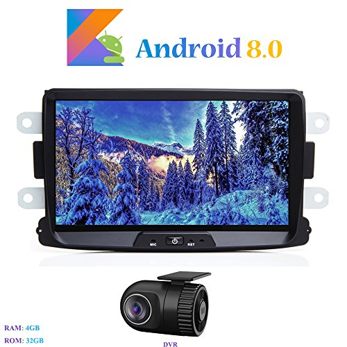 Android 8.0 Car Stereo, Hi-azul In-dash Car Radio 8 Inch 4G ROM 32G Autoradio GPS Navigation for Dacia Sandero/Renault Duster/Lada Xray 2/Renault Captur/Logan 2 (with DVR)