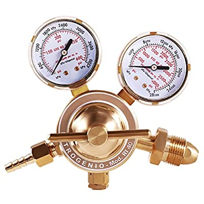 Mofeez Nitrogen Regulator with 0-400 PSI Delivery Pressure Equipment Brass Inlet Outlet Connection Gauges