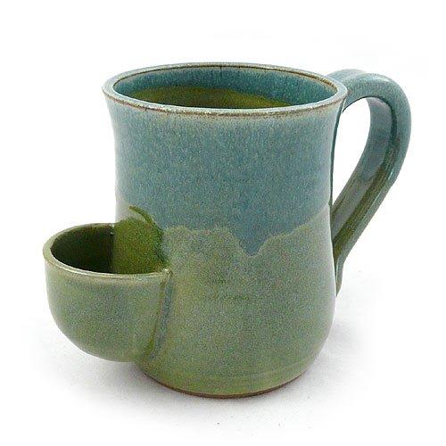 Tea Mug - Hand-Sculpted Stoneware with Tea Bag Holder, 16 oz, Blue/Green (Elephant Mug Tea)