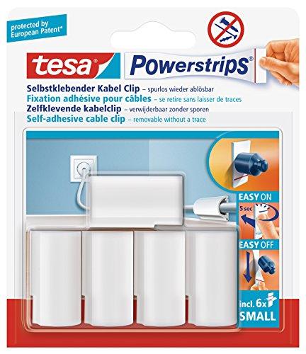 tesa Powerstrips Kabel Clip, weiß, 5 Stück