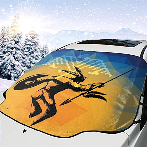 JAMESPAGE War Dance CeremonyCar Windshield Cover Waterproof,Anti-ice,Snow,Scratch Resistant,Sun Visor Heat Resistant for Most Cars,Trucks,SUV - Protect Your Vehicle from Ice and Clean