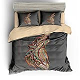 BOMCOM 3D Digital Printing Hand Drawn Patterned Howling Wolf Head African Indian Totem Tattoo 3-Piece Duvet Cover Sets 100% Dark Gray(california king, Ethnic Wolf)