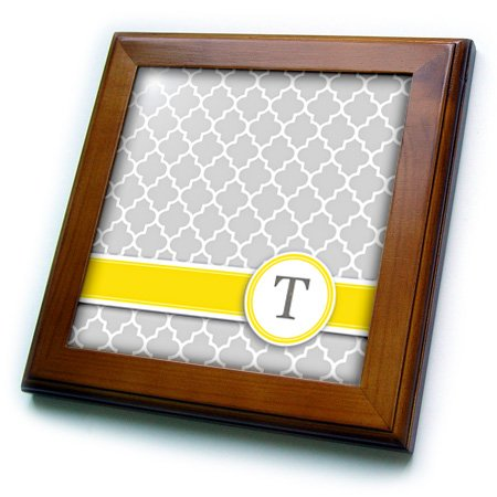 Personalized Framed Tile - 3dRose ft_154586_1 Your Personal Name Initial Letter T Monogrammed Grey Quatrefoil Pattern Personalized Yellow Gray Framed Tile, 8 by 8