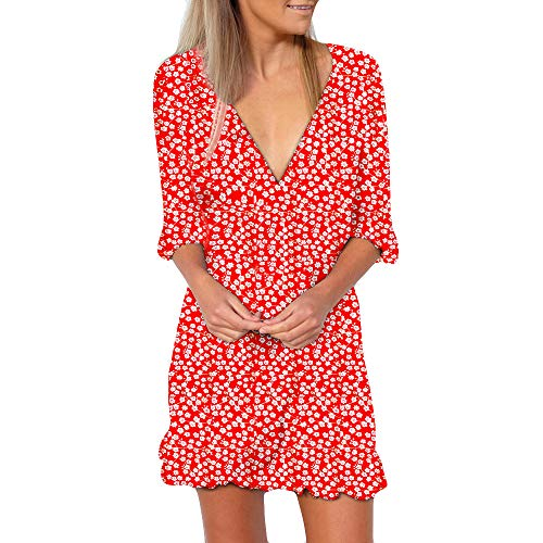 TOTOD Womens Sexy Dress Floral Summer Print Short Sleeve V Neck Summer Mini Evening Party Dress (XL, Red-Half Sleeve)
