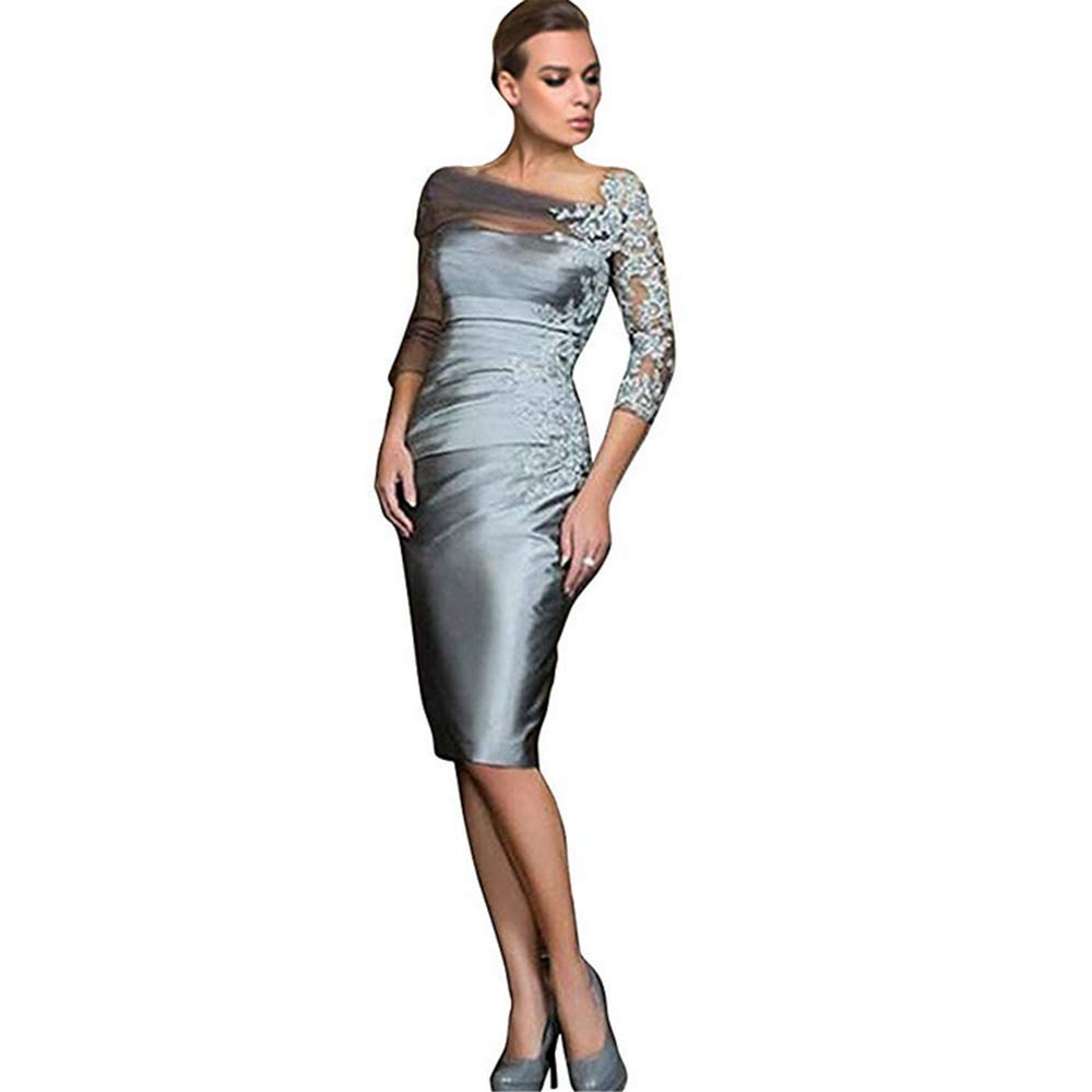 f022c3994d66 kailiya Silver Grey Satin Lace Knee-Length Prom Evening Gowns at Amazon  Women s Clothing store