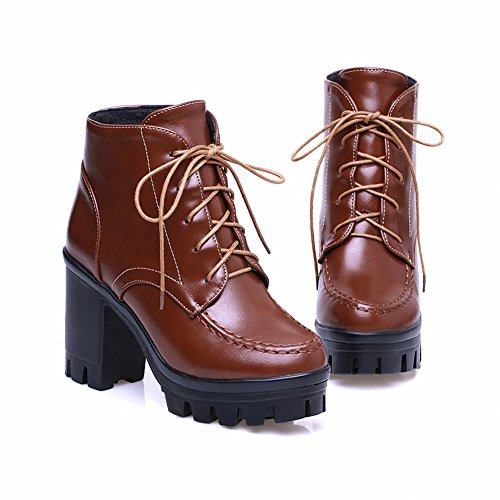 Carol Chaussures Casual Femmes Lace-up Mode Plate-forme Chunky Haut Talon Martin Bottes Marron