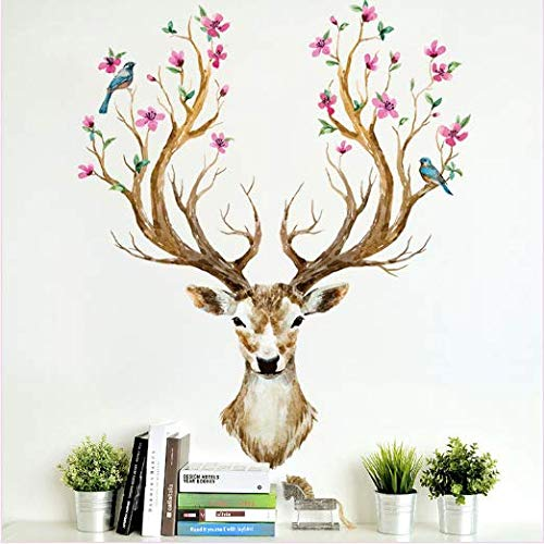 Colorful Deer and Bird Wall Decals Elk Wall Stickers Sika Deer for Bedroom Living Room Baby Room Stickers