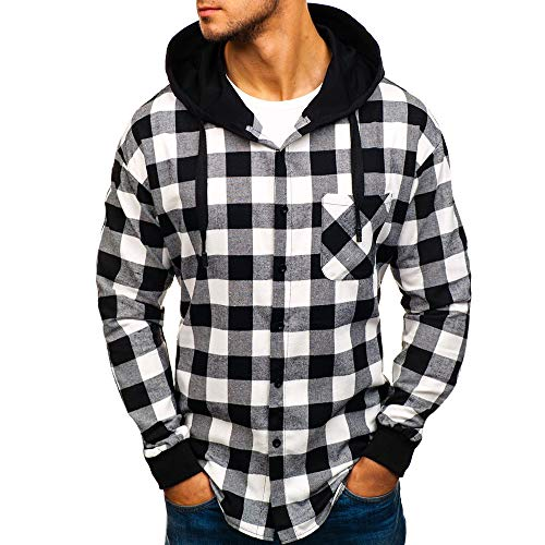 Gibobby_Sweatshirt Men Winter Long Sleeve Pullover Quilted Lined Flannel Jacket with Hood