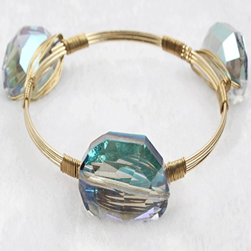 Coco Bracelets Cut (Wire Wrapped Handmade Gold Plated Natural Druzy Crystal Stone Bangle Bracelet for Women Girl)