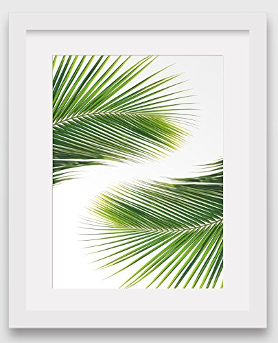 10 Leaf Tropical - Palm Leaves Print, Abstract Tropical Leaves, 8 x 10 inches