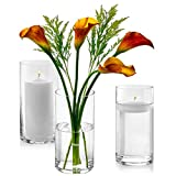 Set of 3 Glass Cylinder Vases 8 Inch Tall