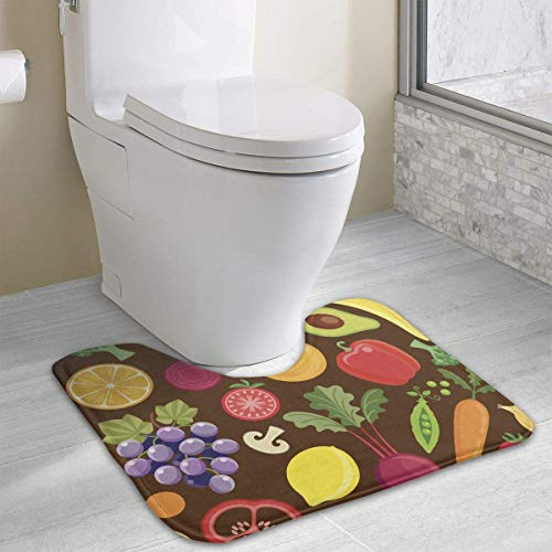 Bennett11 Fruits and Vegetables U-Shaped Toilet Floor Rug Non-Slip Toilet Carpets Shower Mat 19.2″x15.7″