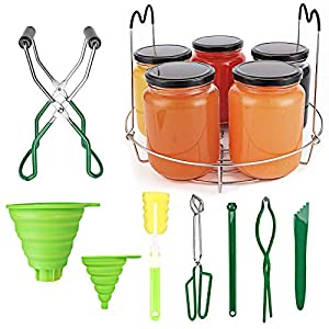 Canning Set, 9pcs Canning Supplies Canning Essentials Set Canning Rack Jar Lifter Tongs Jar Wrench Silicone Collapsible…