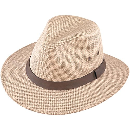 Henschel Men's Burlap with Genuine Leather Band Outback Hat, Large, Natural