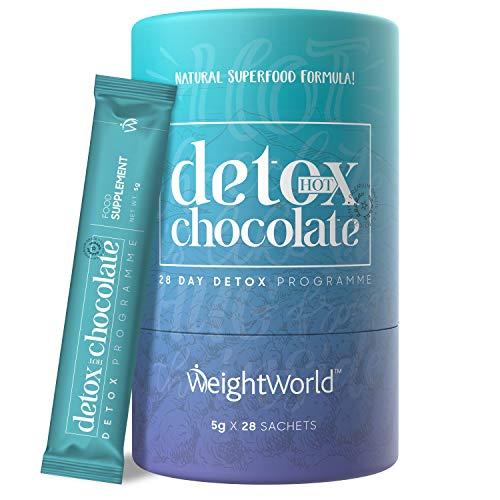 Detox Heiße Schokolade - Entschlackung & Entgiftung, Mit natürlichem Kakao, Ginseng, Grünem Tee & Garcinia Cambogia, Hot Chocolate Keto Pulver, Vegan & Zuckerfrei, 28 Sachets á 5g - WeightWorld