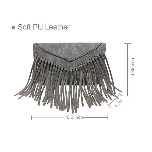 PU Lightweight Wallet La Handbag Pouch Ladies Handbag Satchel Derkia Bag Tote Darkgrey Shoulder Purse Bag Organiser Travel Tassel Hobo Messenger Crossbody aEtt1qxn