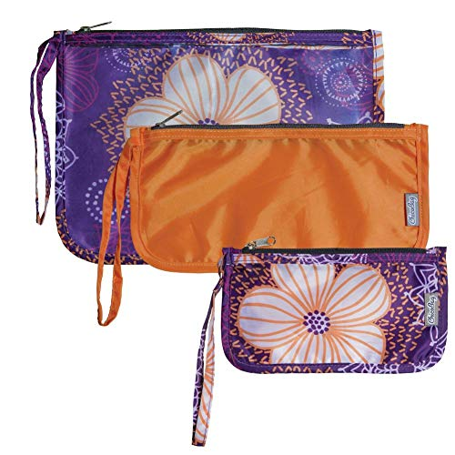 Chicobag Travel Zip Pouches, Reusable, TSA Approved, Set of 3, Flourish Pattern
