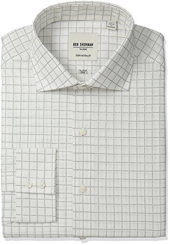 Ben Sherman Men's Slim Fit Dobby Check Spread Collar Dress Shirt, White/Black, 16.5