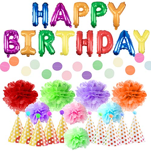 Happy Birthday Party Decorations - 21pk Retro Rainbow Polka Dot Party Supplies for Adults or Kids, DOTZ Birthday Party Hats, Poms and Balloon Banners