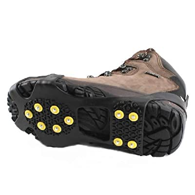 Genonaute 10-stud Chaussures Coque escalade de glace anti Slip Spikes Grips Crampon Crampons (Noir)