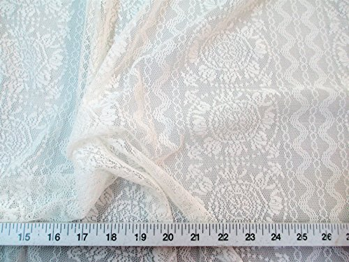 Paylessfabric Swatch Sample Fabric Stretch Mesh Lace Ivory Medallion Aztec LC01 (Medallion Stretch)