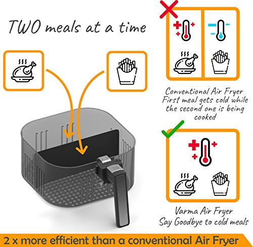 Automatic Electric Hot Air Fryer for Oilless Low-Fat Healthy Cooking - Large 5.2 L (5.5 Qt) Capacity - 1800W with Touch Panel - Free Accessory Set and Online Recipe Book - Fry - Roast - Bake - Grill by HOMIA (Image #4)