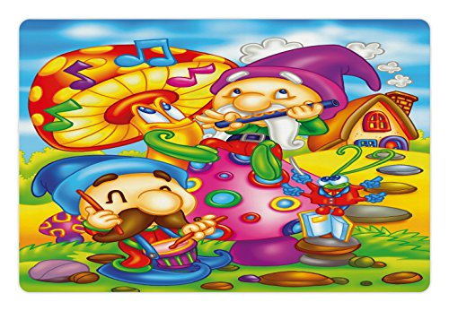 Kids Pet Mats for Food and Water by Ambesonne, Cartoon Style Singing Elves with Mushroom Playing Flute Musical Cheerful Illustration, Rectangle Non-Slip Rubber Mat for Dogs and Cats, (Cartoon Flute)