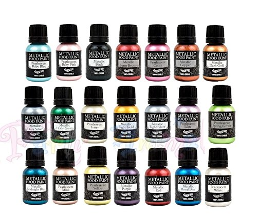 21 Rainbow Dust Metallic & Pearlescent Edible Food Paints & Single Pot of Cupcake Avenue Edible Glue by cupcake avenue and rainbow dust