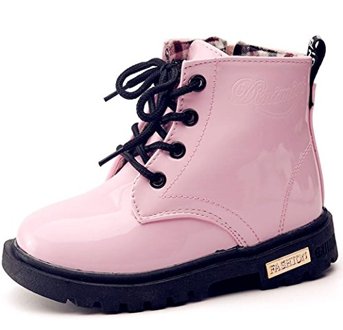 (DADAWEN Boy's Girl's Waterproof Side Zipper Lace-Up Ankle Boots (Toddler/Little Kid/Big Kid) Pink US Size 10 M)