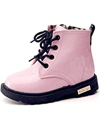Boy's Girl's Waterproof Side Zipper Lace-Up Ankle Boots...