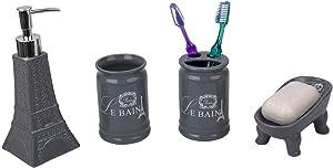 Home Basics, Grey Le Bain Paris Eiffel Tower 4 Piece Designer Ceramic Bath Accessory Set | Toothbrush Holder, Dispenser, Soap Dish, 1 Tumbler