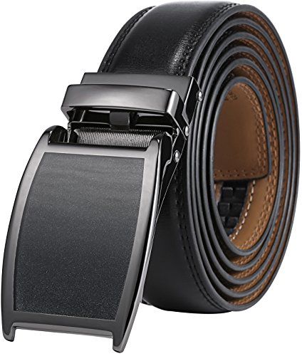Marino Avenue Men's Genuine Leather Ratchet Dress Belt with Linxx Buckle - Gift Box (Gunblack Silver/Black Matte Buckle W/Black Leather, Adjustable from 28