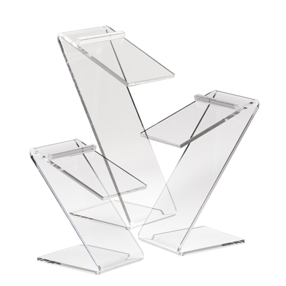 Econoco 3 Set of 3 Beveled Edge Z-Shaped Shoe Risers, Clear (Pack of 18)