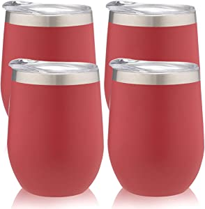 PURECUP Stainless Steel Wine Tumbler With Lid,12 oz Double Wall Vacuum Insulated Travel Cup, For Champaign, Cocktail, Beer,Coffee,Drinks,BPA Free(Rust Red 4 Pack)