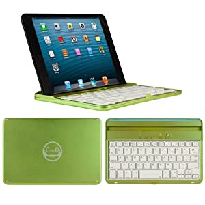 CoverBot iPad Mini 3, iPad Mini Retina Display and iPad Mini Keyboard Case and Stand APPLE GREEN - Aluminum Bluetooth Keyboard Case with Integrated iOS Command Keys for iPad Mini