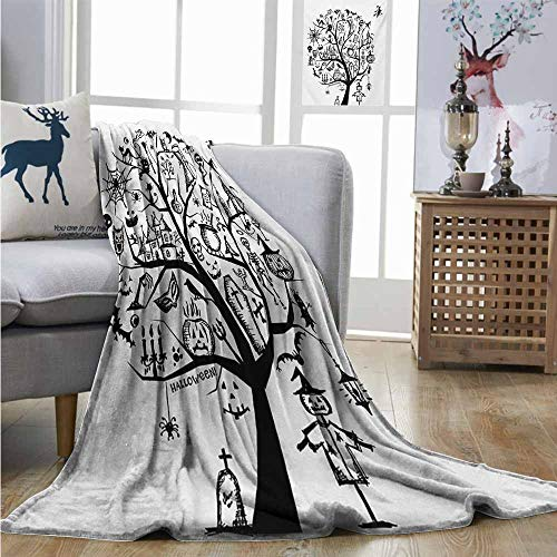Degrees of Comfort Weighted Blanket Halloween Sketchy Spooky Tree with Spooky Design Objects and Wicked Witch Broom Abstract Full Blanket W70 xL93 Black White -