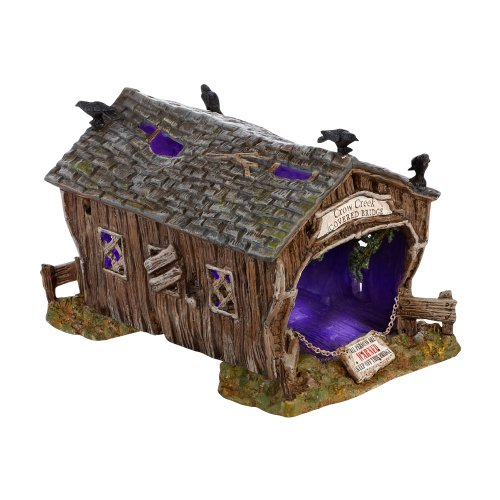 Department 56 Accessories for Villages Halloween Crow Creek Covered Bridge Accessory Figurine, 4.72 inch ()